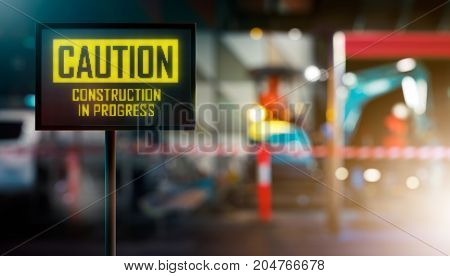 LED Display - CAUTION Construction In Progress Signage (Photo + 3D Rendering)
