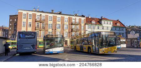 Gliwice, Poland - September 13, 2017: Bus Terminal On Piast Squa