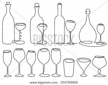 Wine glass one line drawing - vector illustration