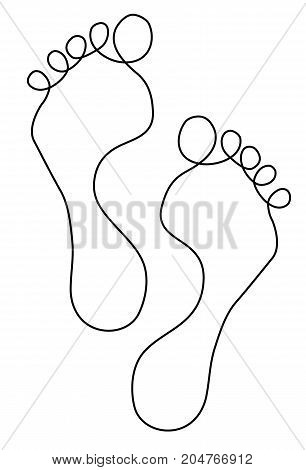 Feet one line drawing - vector illustration