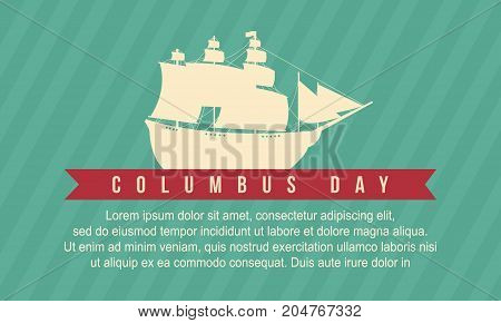 Happy Columbus card style background vector illustration