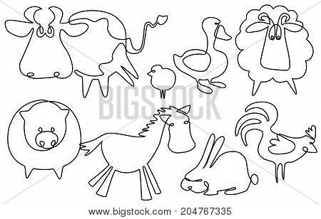 Farm animals one line drawing - vector illustration