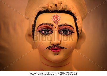New Delhi, India -  17 September 2017: Clay Idol Of God Kartikeya, Under Preparation For