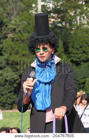 Genoa Voltri - Italy September 2017: Comic 2017 Cosplay Race: a character of the cosplay race that took place at Voltri inside the park of