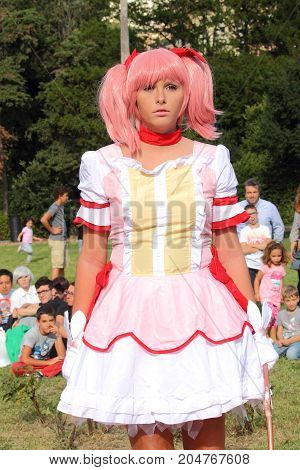 Genoa Voltri - Italy September 2017: Comic 2017 Comedy Cosplay Race: Cute Girl Interpreting a Cosplay Contest Character That Turned To Voltri In The Park Of
