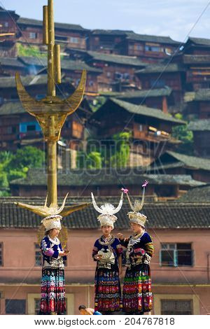 Miao Minority Women Traditional Clothes Hill House