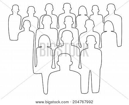 One line drawing crowd of people - vector illustration