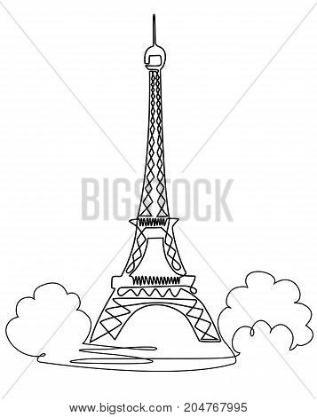 Eiffel Tower one line drawing - vector illustration