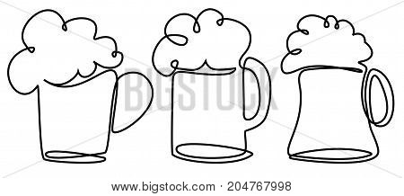 Pint of beer one line drawing - vector illustration