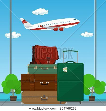 Traveler's Baggage against the Background of a Take-off Plane at the Airport , Travel and Tourism Concept , Vector Illustration
