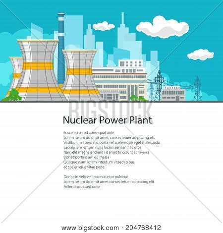 Thermal Power Station on the Background of the City and Text, Electric Transmission from a Nuclear Power Plant, Poster Brochure Flyer Design, Vector Illustration