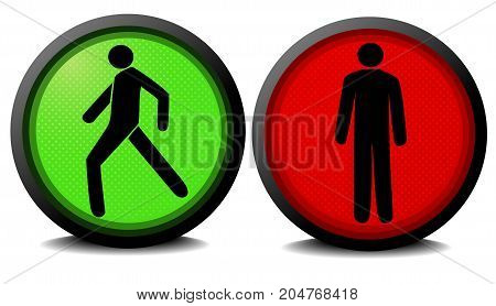 Pedestrian traffic lights with red and green lamps - vector illustration