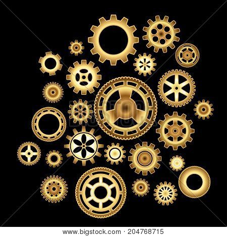 Set of golden wheel gears. Collection of gold cogs. Vector illustration.