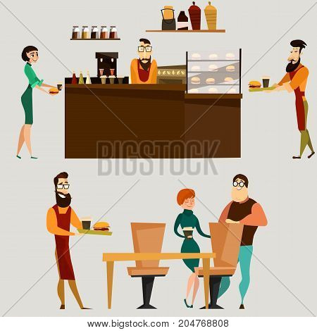Vector set of fast food restaurant elements. Burger bar counter with barista, food and drink, waiter, visitors flat style design symbols, icons.