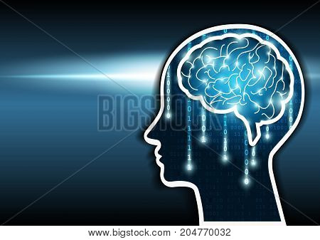 Artificial intelligence. Human head outline with brain and matrix binary. Vector illustration.