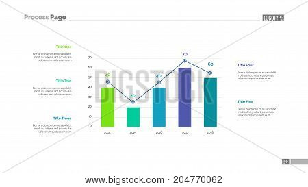 Four columns bar chart slide template. Business data. Comparison, diagram, design. Creative concept for infographic, presentation. Can be used for topics like management, analytics, statistics.