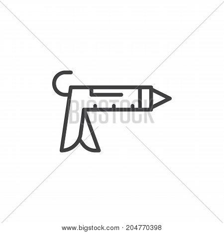 Caulk gun line icon, outline vector sign, linear style pictogram isolated on white. Symbol, logo illustration. Editable stroke