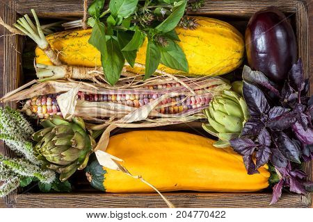 Fresh Organic Vegetables Wooden Floor With Copy Space