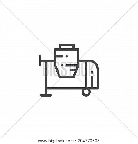 Concrete mixer line icon, outline vector sign, linear style pictogram isolated on white. Symbol, logo illustration. Editable stroke