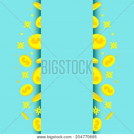 Vertical banner with golden dollar coins on blue background. Success business concept. Internet banking, mobile payments, deposit, investment, saving symbol. Vector illustration.