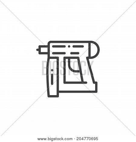 Nail gun line icon, outline vector sign, linear style pictogram isolated on white. Symbol, logo illustration. Editable stroke