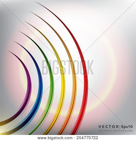 Abstract vector background. Linear background with bright rainbow colorful lines. Can be used for poster, brochure, cover and advertisement material. Vector illustration. Eps10.