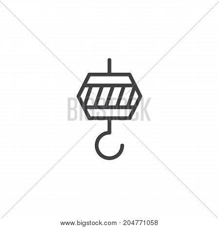 Crane hook line icon, outline vector sign, linear style pictogram isolated on white. Symbol, logo illustration. Editable stroke