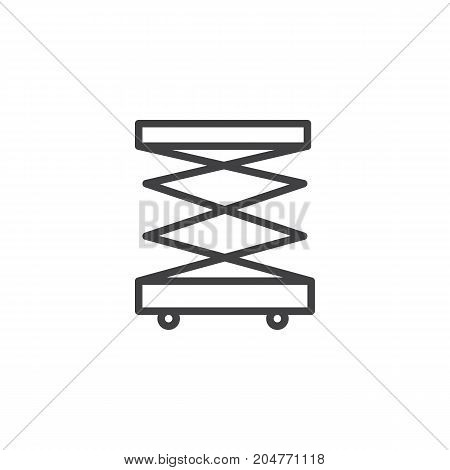 Lifting machine line icon, outline vector sign, linear style pictogram isolated on white. Symbol, logo illustration. Editable stroke