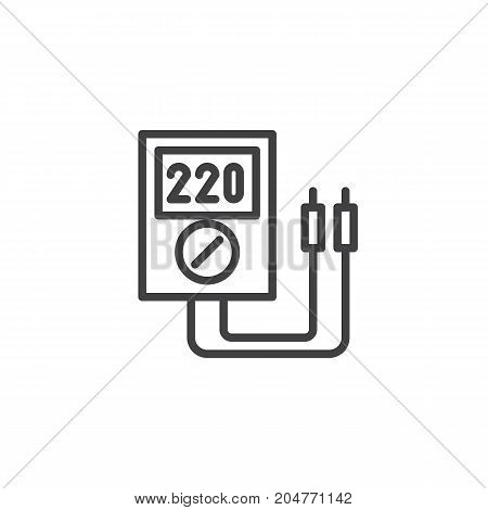 Voltmeter line icon, outline vector sign, linear style pictogram isolated on white. Symbol, logo illustration. Editable stroke