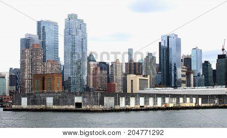 New York USA - 28 September 2016: Manhattan Cityscape along the Hudson River waterfront.