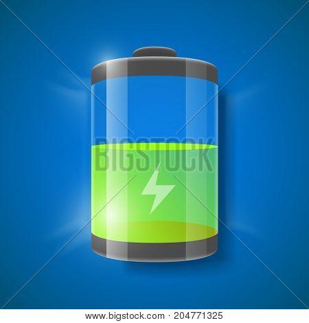 Vector illustration of detailed glossy battery level indicator. Half