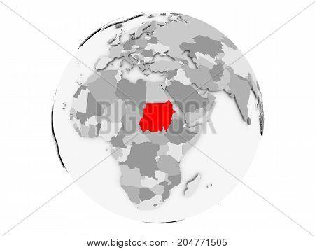 Sudan On Grey Globe Isolated