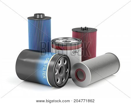 Different types of automotive oil filters, 3D illustration