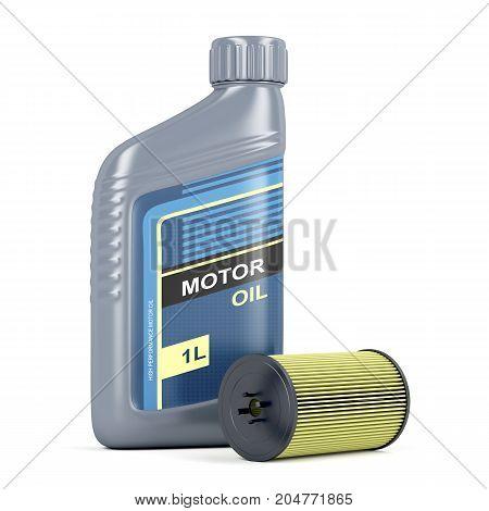 Bottle of motor oil and oil filter cartridge, 3D illustration