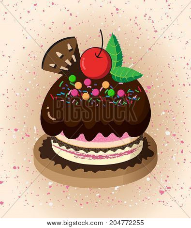 Cartoon cake.Chocolate and red cherry cake.illustration design.