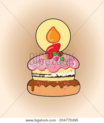 Cartoon cake.Candy cake with birthday candle.illustration design.