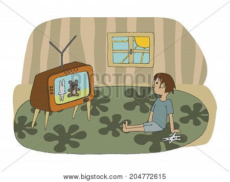 vector hand drawn illustration of a kid stting on the floor and watching tv