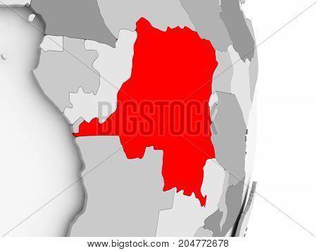 Democratic Republic Of Congo On Grey Political Globe