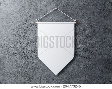 Blank White pennant hanging on a concrete wall, 3d rendering