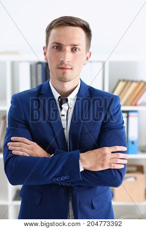 Handsome Man In Suit Stand In Office