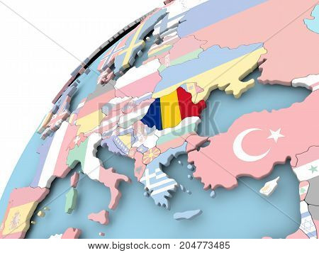Romania On Globe With Flag