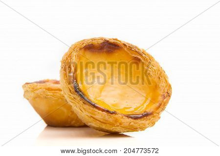 Egg Tarts or pasteis de nata isolated on white background. Typical portuguese sweet