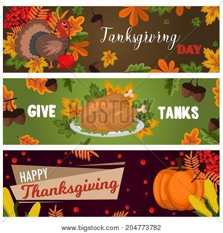 Happy thanksgiving cards celebration banner design cartoon autumn greeting harvest season holiday brochure vector illustration. Traditional food dinner seasonal thanks giving poster.