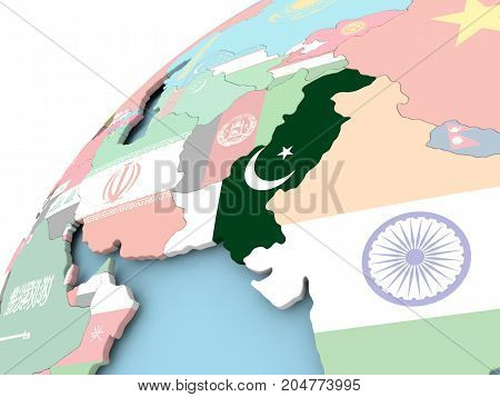 Pakistan On Globe With Flag