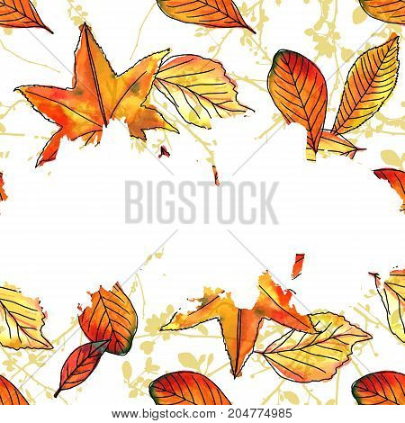 Vector and watercolor autumn leaves and branches on a white background with a brush stroke for copy space, square fall banner or flyer design