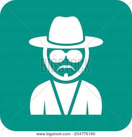 Hipster, man, young icon vector image. Can also be used for Avatars. Suitable for web apps, mobile apps and print media.