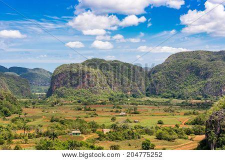 View Of The Vinales Valley, Pinar Del Rio, Cuba. Copy Space For Text.
