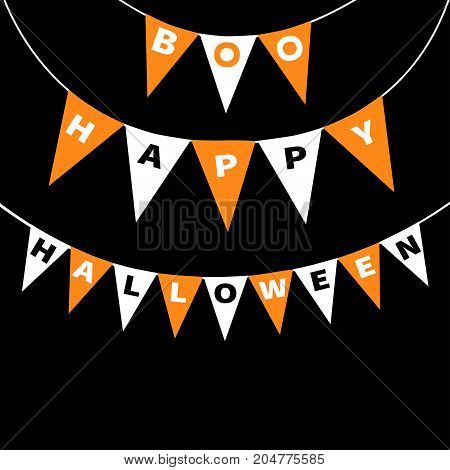 Bunting flags pack Boo Happy Halloween letters. Flag garland. Party decoration element. Hanging text on rope thread. Orange white triangle set. Greeting card. Flat design. Black background. Vector