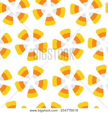 Happy Halloween. Candy corn. Seamless Pattern. Round flower shape. Wrapping paper textile template. Print template. Flat design White background. Vector illustration.