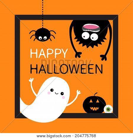Happy Halloween card. Square frame. Flying ghost monster head silhouette. Hanging upside down. Pumpkin eyeball. Black spider dash line. Cute cartoon baby character. Flat Orange background. Vector